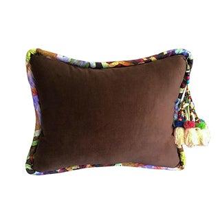 Brown / Bakuba Lodge Velvet Throw Pillow For Sale