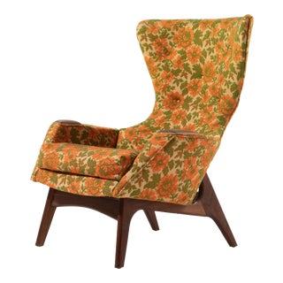 1960s Vintage Adrian Pearsall for Craft Associates Model 2231-C High Back Wingback Chair For Sale