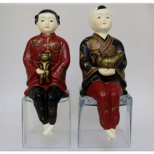 Porcelain Shelf-Sitters, a Pair - Image 2 of 8