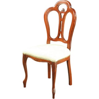 New Rococo Dining Chair Italy Ivory Damask For Sale