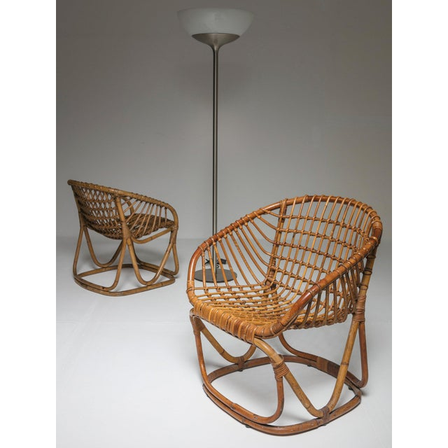 Pair of Wicker Chairs by Tito Agnoli for Bonacina For Sale - Image 6 of 7
