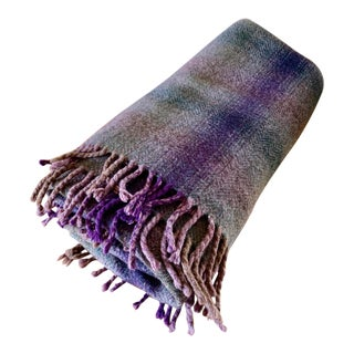 Vintage Royal Scot Lavender & Gray Wool Throw Blanket For Sale