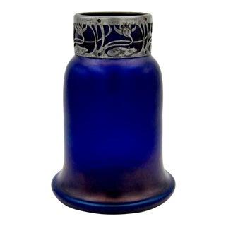 Austrian Iridescent Blue Art Glass Vase With a Jugendstil Silver Metal Collar For Sale