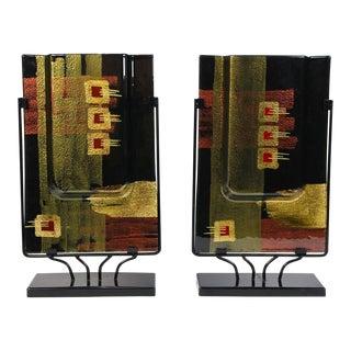 Iridescent Art Glass Rectangular Flat Vases - A Pair For Sale