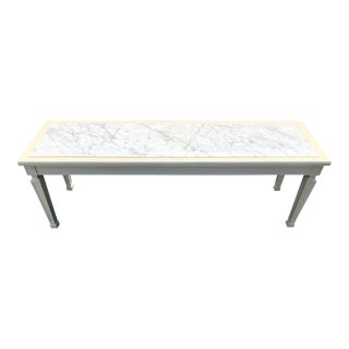 1960s Mid-Century Modern Directoire Marble Top Coffee Table For Sale