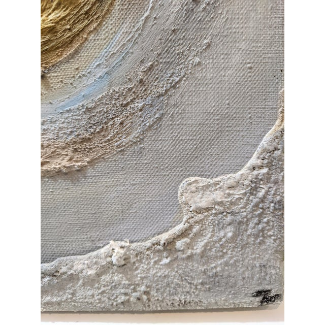 Late 20th Century Muted Gray Blue Organic Textured Oil Painting For Sale - Image 5 of 6
