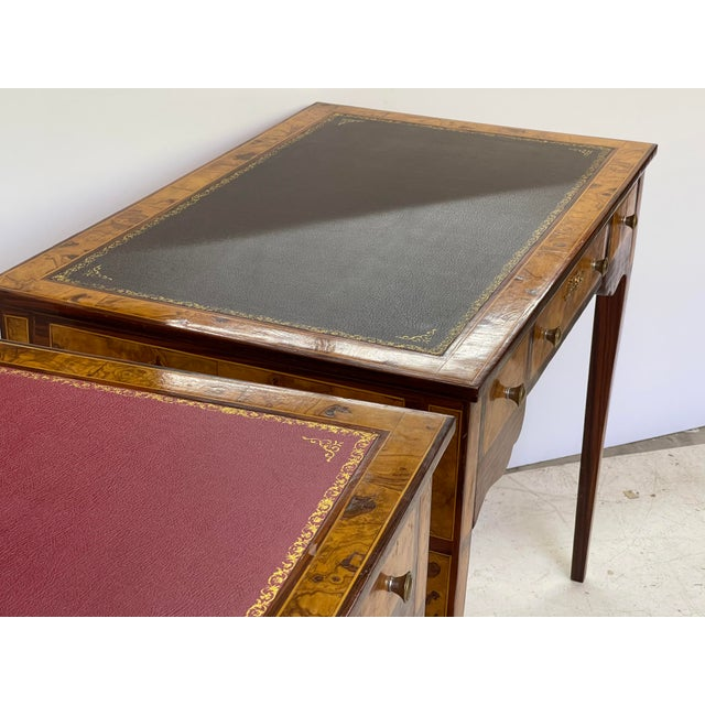 Wood Pair of Italian Burl Wood Writing Tables For Sale - Image 7 of 13