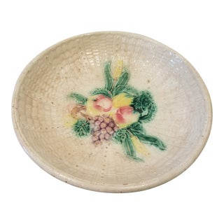 Majolica Bowl With Fruit and Leaves For Sale