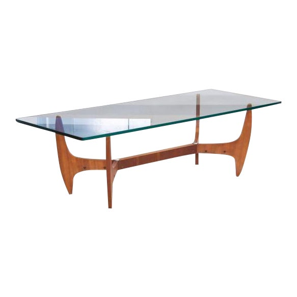 Large Brazilian Midcentury Coffee Table with Thick Glass Top For Sale
