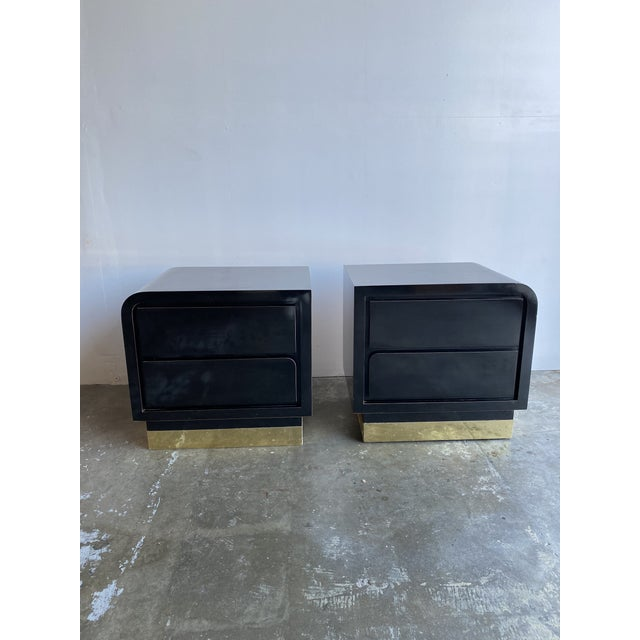 1980s Black Laqcuer and Brass Nighstands-a Pair For Sale - Image 11 of 12