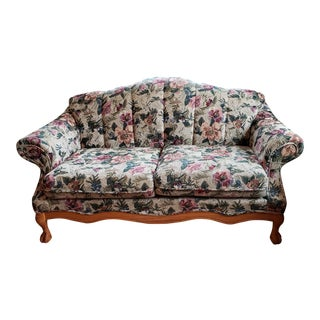 1990s Vintage Country French Floral Tapestry Ball and Claw Loveseat For Sale