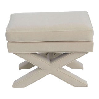 1960s Modern Billy Baldwin Style White Upholstered X Bench