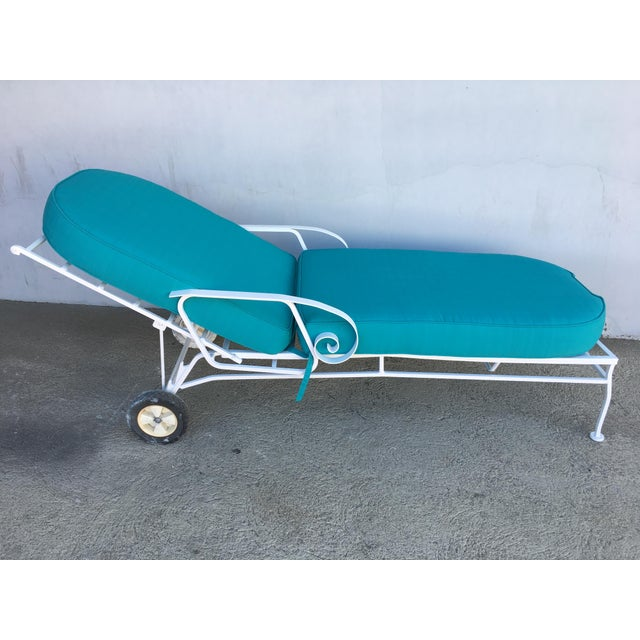 White Steel Scrolling Reclining Outdoor / Patio Chaise Lounge by Woodard For Sale - Image 8 of 11