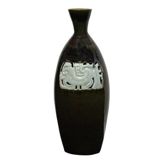 Modern Handmade Narrow Neck Vase Brown Tone Gloss Grace Vase With Ancient Phoenix Graphic For Sale