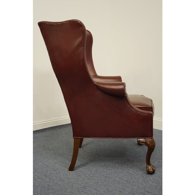 Whittemore-Sherrill Burgundy Leather Wingback Chair For Sale - Image 9 of 10