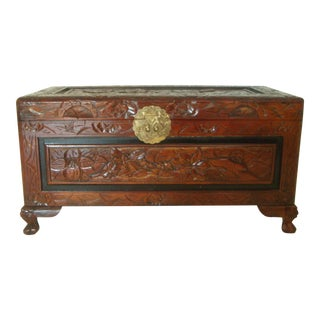 Vintage Chinese Hand Carved Wood Storage Trunk / Blanket Box / Oriental Chest With Brass Embellishments For Sale
