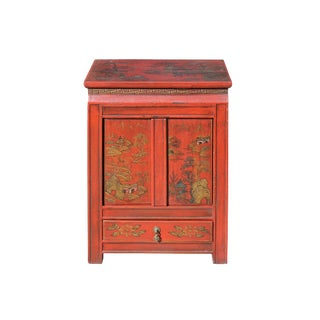 Chinese Red Base Golden Scenery End Table Nightstand Table Cabinet For Sale