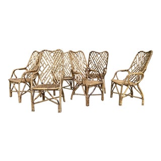 Chinioserie Rattan Dining Chairs, S/6 For Sale