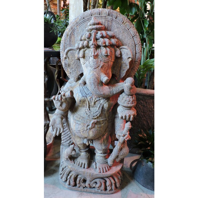 1900 - 1909 Red Granite Ganesh For Sale - Image 5 of 5