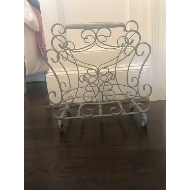 French 1950s Vintage French Iron Magazine Rack For Sale - Image 3 of 6