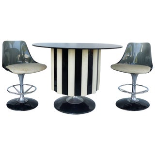 1970s Mid-Century Modern Chromecraft Acrylic & Chrome Dry Bar With Two Stools For Sale