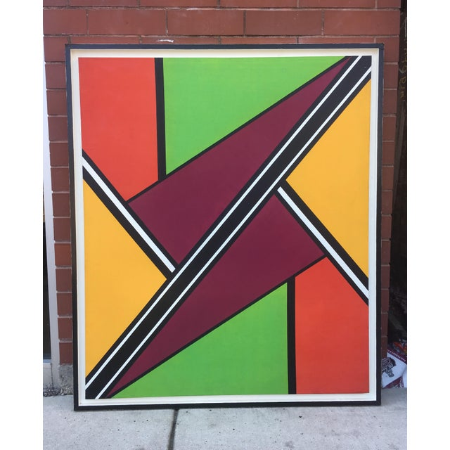 """Vintage Mid-Century """"Intersection #3"""" Oil & Acrylic Painting For Sale - Image 9 of 9"""