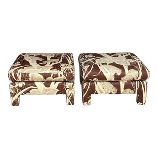 Vintage Cheetah Print Ottomans - a Pair For Sale