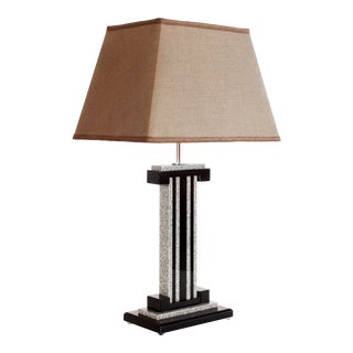 1990s Post Modern Bauer Black & Marble Lucite Table Lamp with Shade For Sale