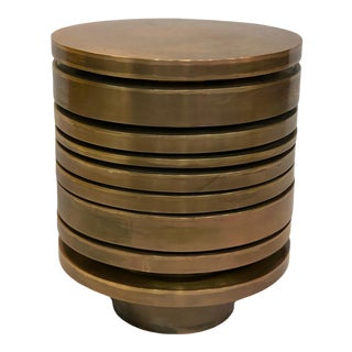 Contemporary Striated Brass Drink Table For Sale