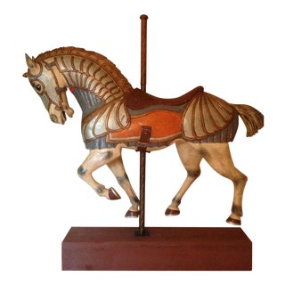 1/2 Size Hand Carved Wooden Carousel Horse For Sale