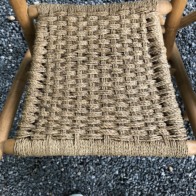 Tan Mid-Century Modern Hans Wagner Style Bamboo Rope Folding Lounge Chairs - a Pair For Sale - Image 8 of 13