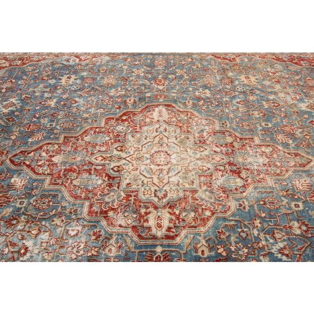 "Blue Apadana-Antique Persian Distressed Rug, 8'5"" X 12'0"" For Sale - Image 8 of 9"
