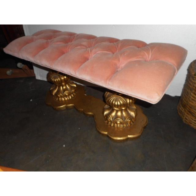 Regency Hollywood Pink Tuft Chair Bench Vanity Stool - Image 2 of 7