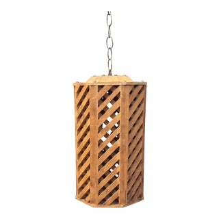 Vintage Rustic Natural Wood Swag Lamp For Sale