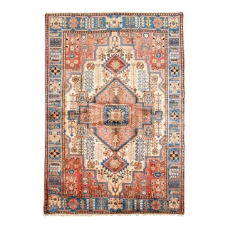 1960s Authentic Hamadan Orange and Blue Rug- 4′8″ × 6′9″ For Sale
