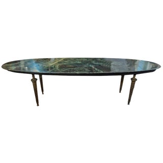 1950s Hollywood Regency Gio Ponti Inspired Bronze and Marble Cocktail Table For Sale