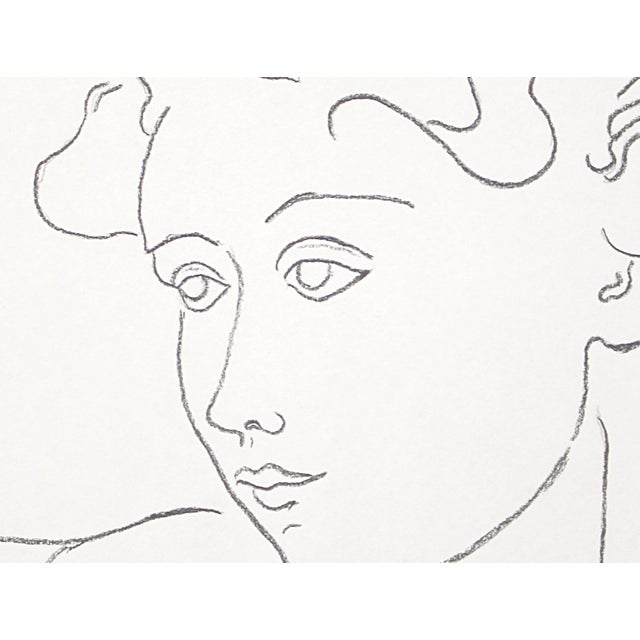 """Contemporary """"Woman With Flying Curls"""" Minimalist Inspired Charcoal Drawing by Sarah Myers For Sale - Image 3 of 6"""