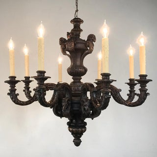 Antique French Louis XIV Carved Wood Chandelier Preview