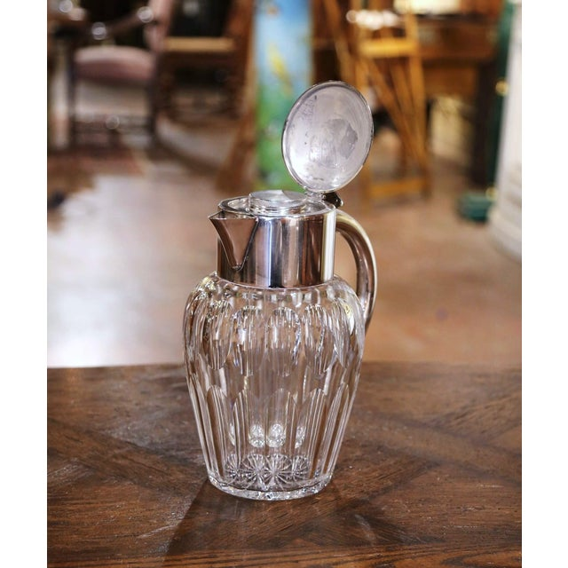Midcentury French Cut-Glass and Silvered Brass Pitcher With Ice Holder Insert For Sale In Dallas - Image 6 of 10