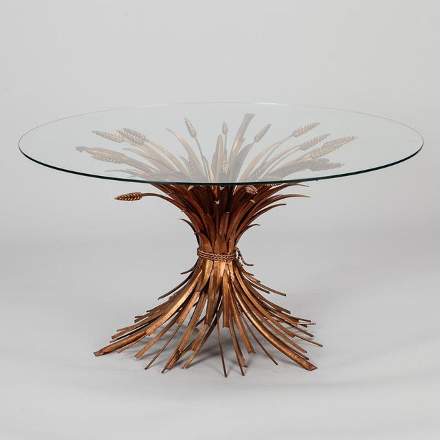 Mid Century Gilded Metal Wheat Sheaf Table For Sale - Image 9 of 9