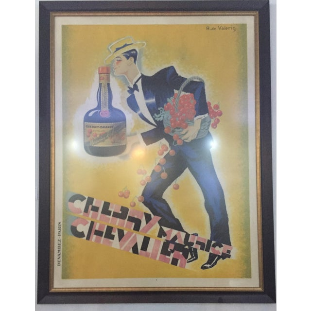 "Cherry Brandy Maurice Chevalier 70"" Lithographic Poster by Roger De Valerio 1935 For Sale In West Palm - Image 6 of 12"