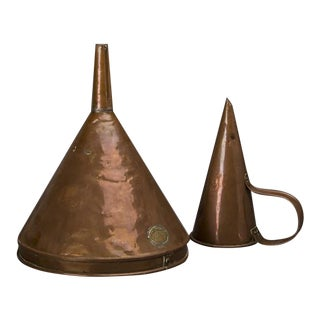 1900s Solid Copper Funnel Collection - a Pair For Sale