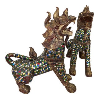 Jeweled Mosaic Foo Dogs - A Pair For Sale