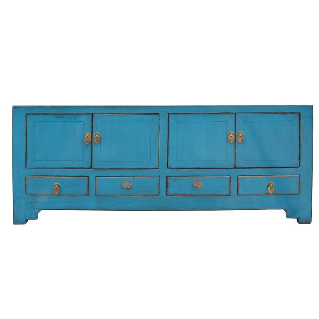 Blue Chinese Distressed Blue Low Tv Console Table Cabinet For Sale - Image 8 of 9