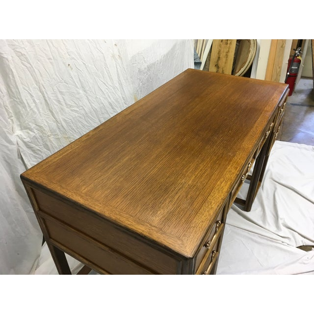 McGuire Oak and Rattan Desk For Sale In Atlanta - Image 6 of 10