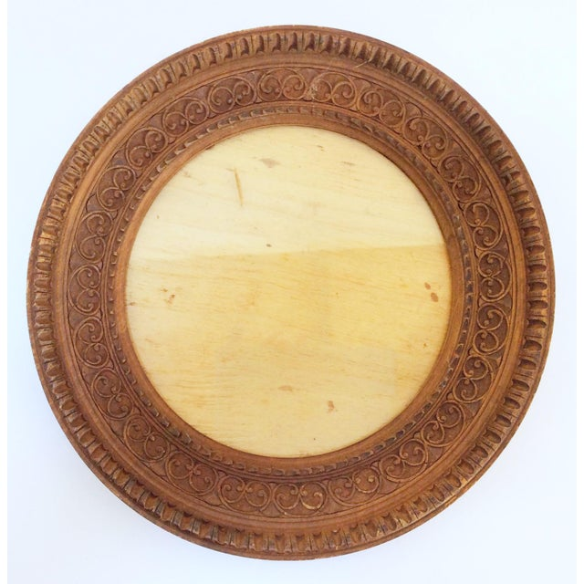 Carved Round Wooden Frame - Image 3 of 4