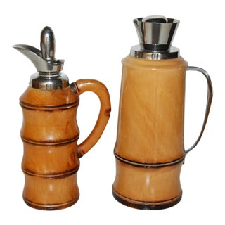 Aldo Tura for Macabo Wood & Chrome-Plated Decanters - A Pair
