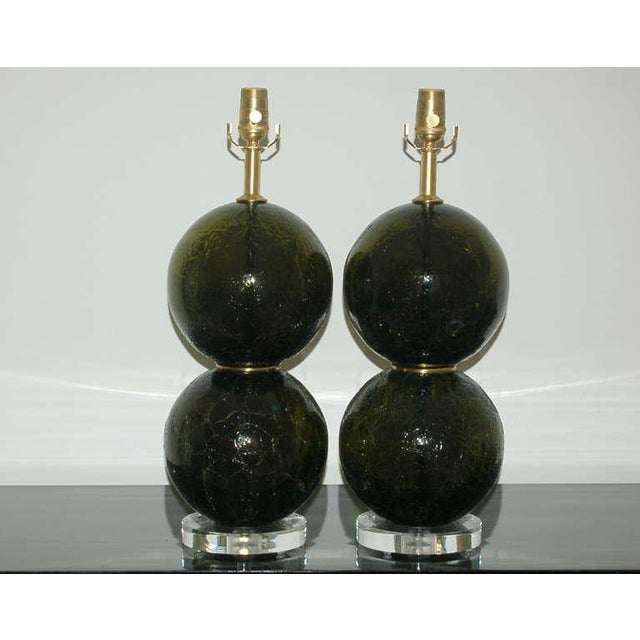 The inventory label attached to these balls says VERDE OLIVA CRAQUELE. An OLIVE GREEN with textured finish, stacked two...