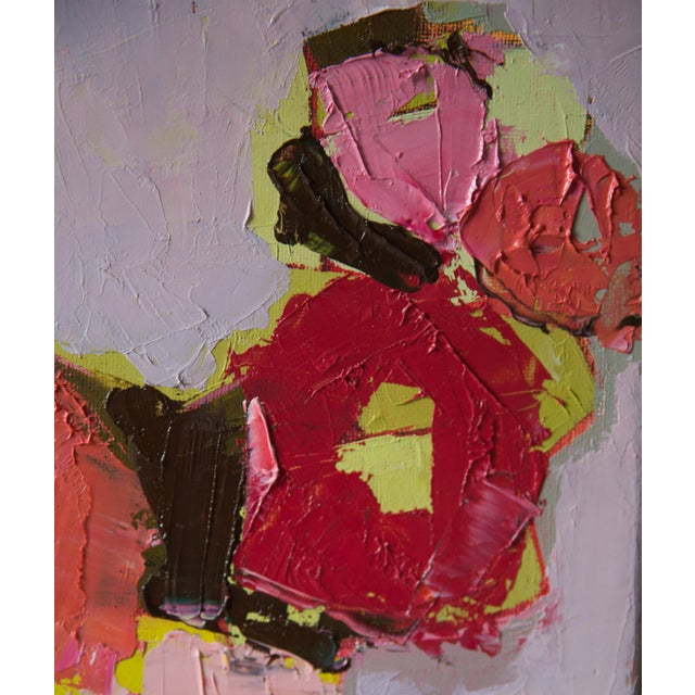 """Abstract Bill Tansey """"Five Flowers"""" Abstract Floral Painting Oil on Canvas For Sale - Image 3 of 4"""