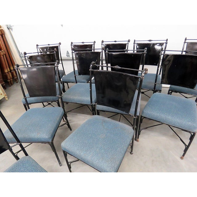Asian Vintage Mid-Century Modern Metal Dining / Side Chairs - Set of 10 For Sale - Image 3 of 13